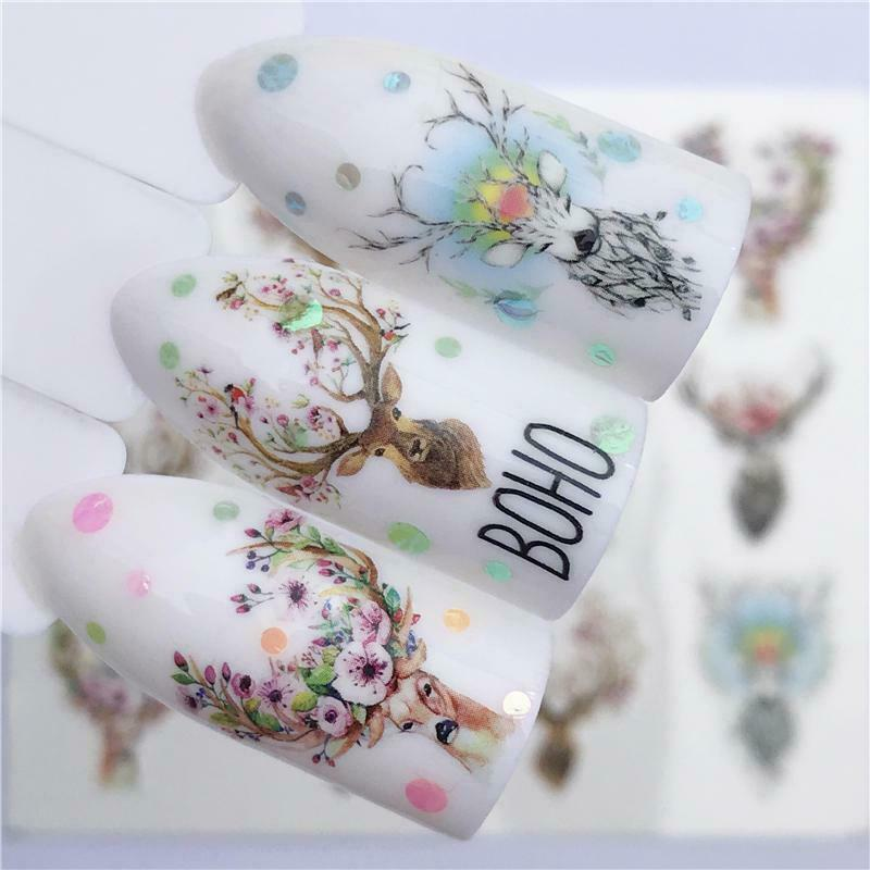 Boho Nail Transfers Deer Antlers Roses Flowers Bohemian Decals Stickers For Fingernails Flower Of Life Geometric Shapes