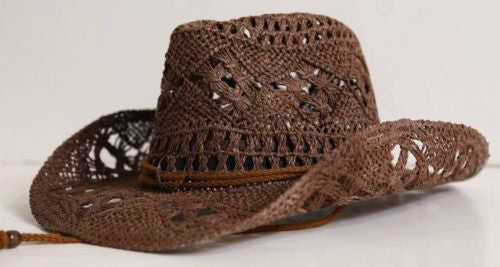 Brown Raffia Cowboy Hat Cowgirl Hat Lace Pattern Boho Western Comes With Turquoise Hat Band Medium / Large