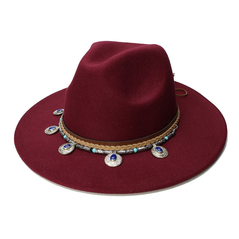 Burgundy Wide Brim Fedora Gypsy Hat Festival Fashion Jeweled Braided Hatband Festival Fox Adjustable Size