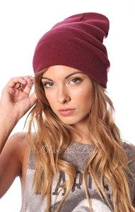 Slouch Hat Burgundy Red Boho Ribbed Beanie Colored Stocking Cap