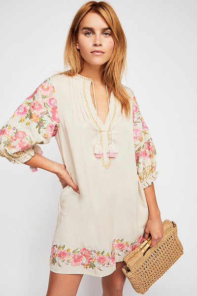 Pink Ivory Embroidered Dress