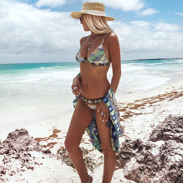 "Boho Bikini ""Cloud Dancer"" Exotic Island Print Bohemian Swimsuit Light Blue White Floral Peacock Sizes Small Medium Or Large"