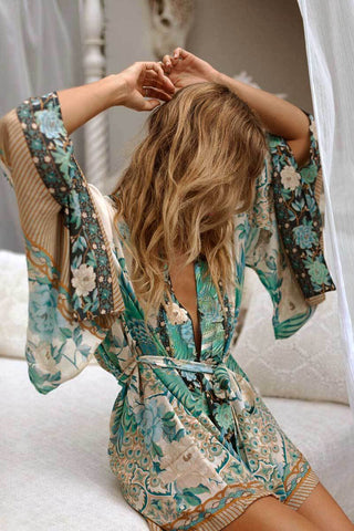 "Boho Kimono ""Cloud Dancer"" Short Bohemian Exotic Island Print Swimsuit Cover Up Bikini Wrap Festival jacket"
