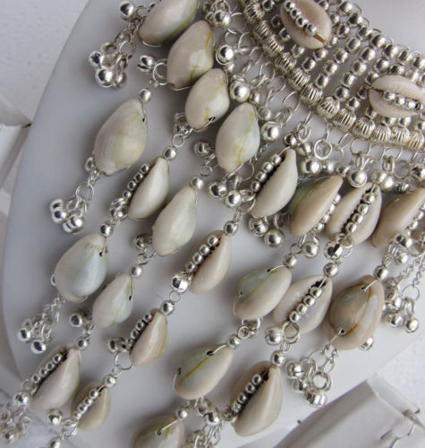 Cowrie Shell Choker And Dangle Earrings Silver Beads Waterfall Cascade Bohemian Mermaid Gypsy Jewelry