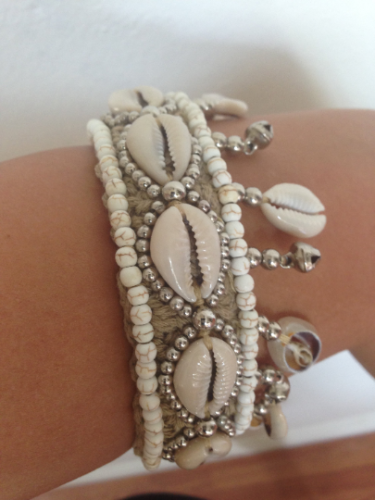 Cowrie Shell Choker Crochet Natural Beige With Beads Sea Shells Wear As Ankle Cuff Statement Piece Great With Bikinis!
