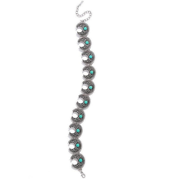 Boho Choker Silver And Turquoise Crescent Conchos Bohemian Gypsy Necklace Adjustable For Perfect Fit