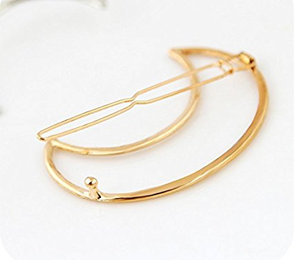 Crescent Barrette Gold Tone Waxing Moon Celestal Hair Clip Bohemian Nature Worship Hairpin
