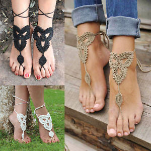 Crochet Barefoot Sandals Tan Black Or White Beach Shoes Foot Jewelry Lace Up Leg Wear Them At The Pool With Flip Flops Or Out With High Heels
