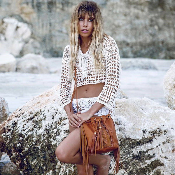 White Crochet Fringe Top Boho Long Sleeve Fishnet Weave Crop Top Beach Cover Up One Size
