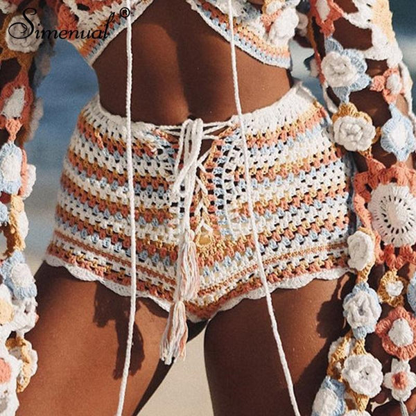 Multi Colored Crochet Shorts
