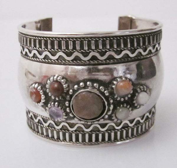 Gypsy Cuff Bracelet With Stones Boho Pastel Colored Natural Beautiful Rocks Mounted On Silver Tone Tribal Jewelry