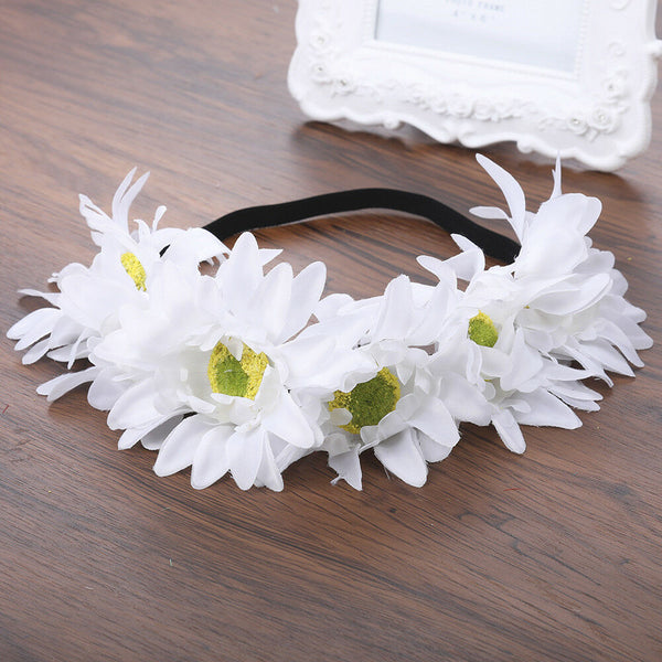Daisy Flower Crown Big Fluffy White Daisies Floral Headband Hair Wreath Feminine Festival Accessory