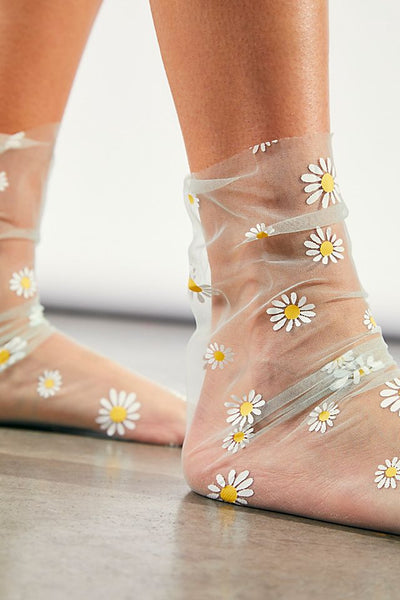 Mesh Daisy Socks 7 Colors You Choose See Through Anklets With Daisies Transparent Spring Summer Floral Girlie Crew Sock Thin Breathable Great With Sandals And Platforms Black White Baby Blue Baby Pink Lavender Mint Green Yellow One Size