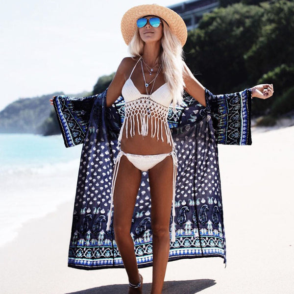 Dreamscape Maxi Boho Kimono Navy Blue Seaside Print Wide Sleeves Full Length One Size