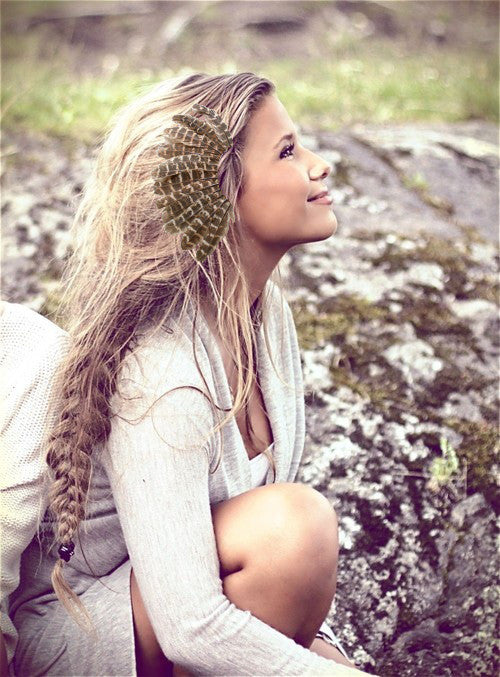Feather Ear Cuff Tribal Headdress Alternative Fun Boho Festival Accessory Unique Bohemian Goddess Must Have Genuine Feathers For Left Ear