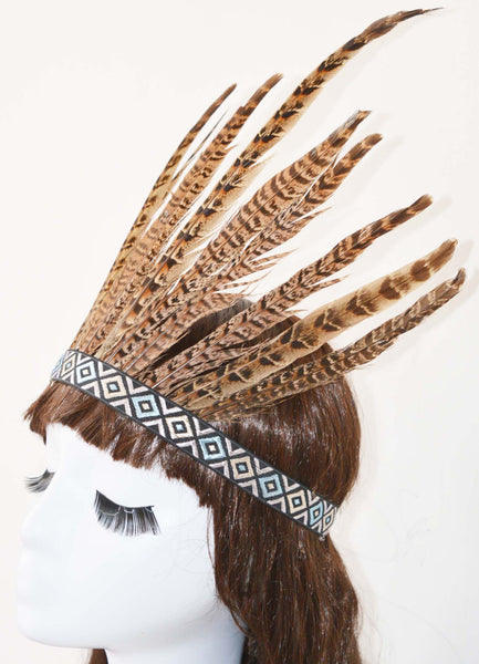 Boho Feather Headdress Natural Feathers On Blue & Silver Aztec Headband Embroidered Pattern One Size