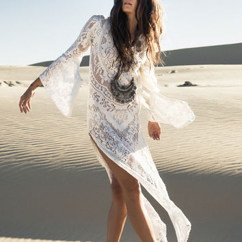 "White Lace Bohemian Maxi Dress ""Fleetwood"" Plunging Low Back Bell Sleeves  Daring See Through Gown Cast A Gypsy Spell On Him Sizes Small Medium Or Large"