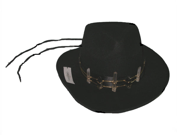 Free People Flight Of Fancy Crystal Crown Clear & Smokey Quartz Gold Headband On Black Wide Brim Felt Fedora With Leather Ties Be The Festival Goddess