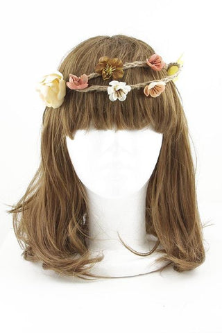 Blush Peach Mocha Flower Crown Double Hemp Rope Braids Yellow And White Flowers Too Be Sure To Wear Hippy Flowers In Your Hair!