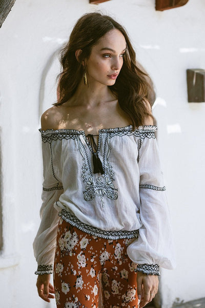 "White Boho Peasant Top ""Folklore"" Black Embroidery Tassel Ties Bohemian Blouse Sizes Small Medium Or Large"