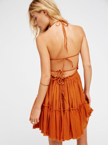 "Boho Mini Dress ""100 Degree"" Rust Halter Top With Tiered Polka Dot Netting Sizes Small Medium Or Large Free Spirited People"
