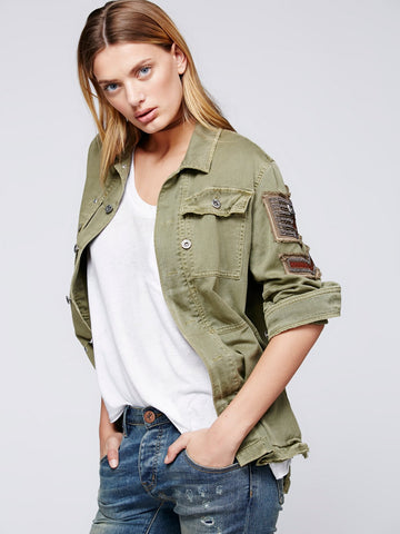 Boho Army Jacket Shirt Embellished Seed Bead Military Officer Stripes Eagle Button Down Khaki Olive Drab Sizes Small Medium Or Large