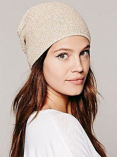 Free People Slouch Beanie Beige Tan Super Soft Boho Fall Winter Cozy Hat Thermal Stocking Cap