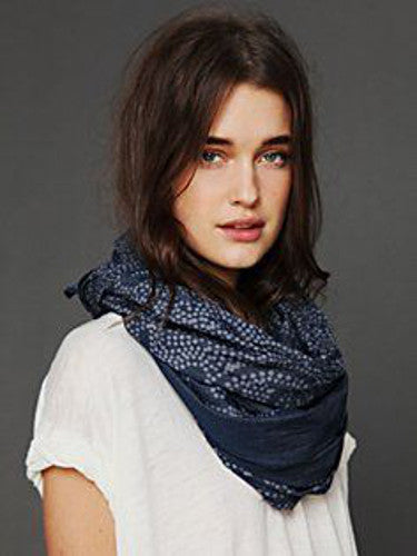 "Free People Bleach Print Scarf Navy Blue Super Long Lightweight Bandana 30"" x 72"""