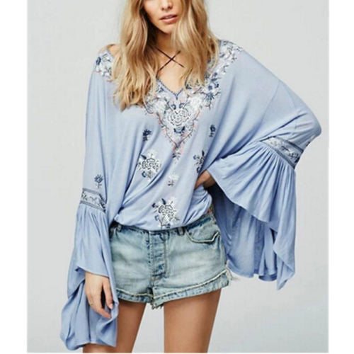 "Bell Sleeve Boho Top ""Siren Song"" Light Blue Embroidered Peasant Top With Tassels Sizes Small Medium Or Large"