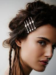 "Free People Arrow Bobby Pins ""Straight Shooter"" Four Silver Tone Arrows Bobbypins On Black Leather"