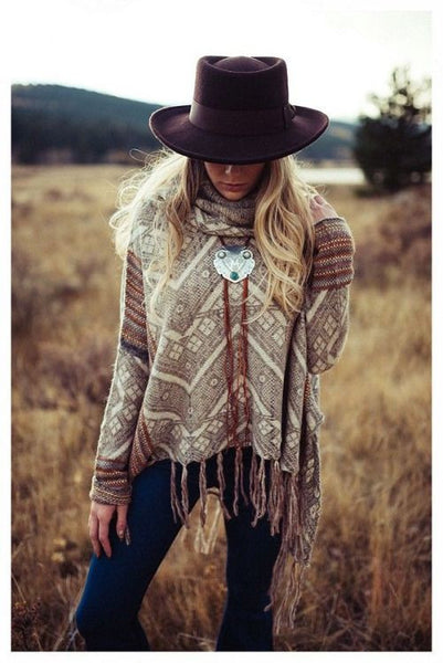 Free People Montana Bolo Tie Necklace Genuine Leather Fringe And Boho Etched Silver Tone Pendant With Turquoise And White Stones