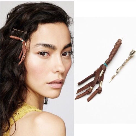 Free People Coyote 2 Pc Bobby Pin Set Camel Brown Braided Leather Fringe Turquoise & Gold Beaded & Arrow Hair Pin