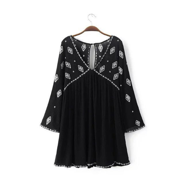 Bell Sleeve Top Boho Diamond Embroidery Long Black Tunic For Free Spirited People Small Medium Or Large