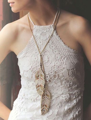 Leather Feather In The Wind Lariat Necklace Hand Painted Genuine Cowhide Beige Copper Tribal Bolo With Antiqued Brass By Free People