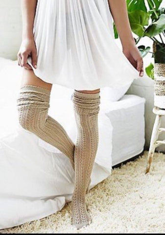 "Beige Over The Knee Socks ""Hammock"" By Free People Super Soft Long Stretchy Thigh High Boot Socks"