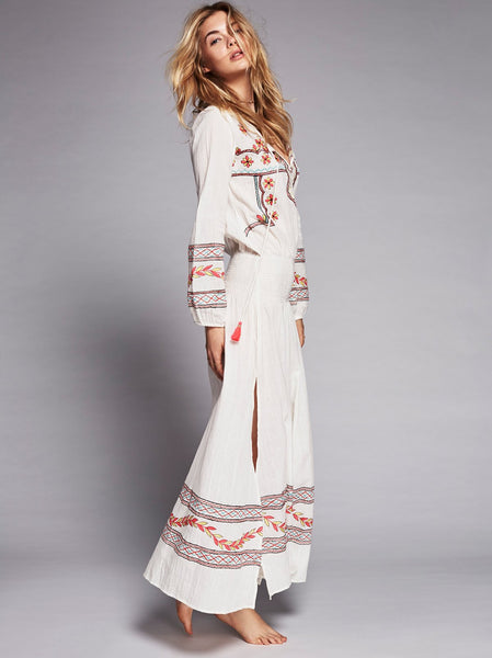 "Embroidered Boho Maxi Dress ""Mystical"" White With Colorful Embroidery Bohemian Tassel Ties XS Small Medium Or Large"