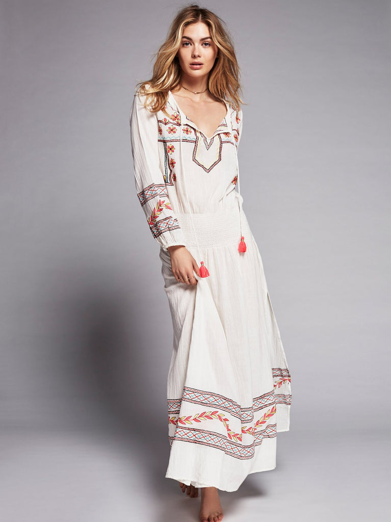 "Embroidered Boho Maxi Dress ""Mystical"" White With Colorful ..."