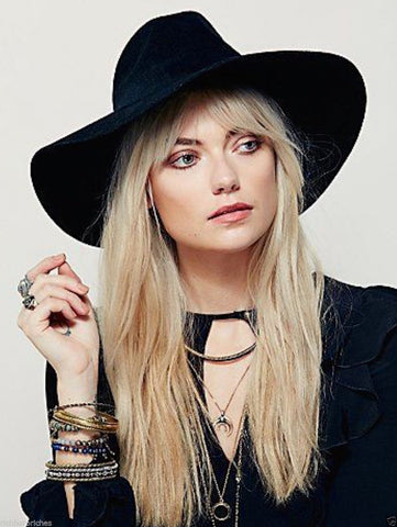 Free People Black Matador Hat Extra Wide Brim Fedora Bohemian Boho Felt Winter Hat One Size