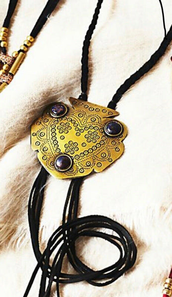 Free People Montana Bolo Tie Necklace Genuine Leather Fringe And Boho Etched Gold Tone Pendant With Black Stones
