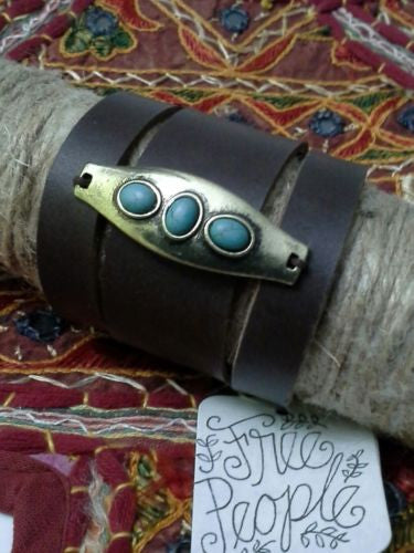 Free People Monza Leather Cuff Bracelet Brown Silver Tone And Turquoise Stones Festival Ready Stack Your Bracelets!
