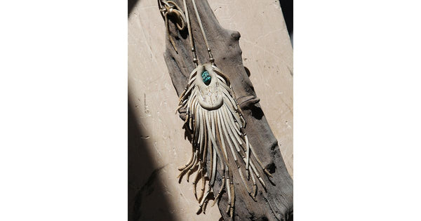 Free People Earth Medicine Bag Necklace Tan Leather Turquoise Stone Fringe Statement Pouch By Three Arrows
