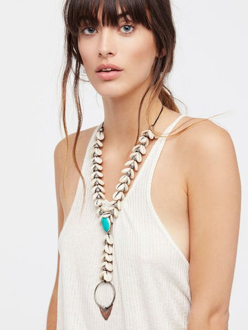 Free People Siren Necklace Cowrie Shell Turquoise Long Bohemian Gypsy Jewelry Mermaid Festival Queen