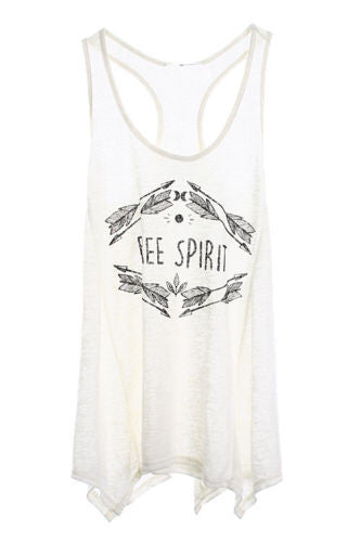 Free Spirit Graphic Tank Top Boho Off White Shark Bite Racerback Shirt With Arrows Wandering Gypsy Gypset Free Spirited People Small Medium Or Large