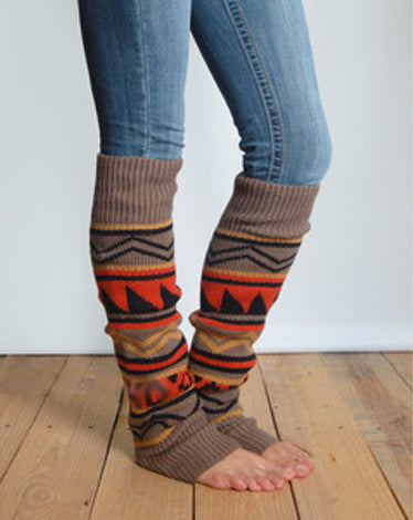 Aztec Leg Warmers Desert Sunset Western Southwestern Cowgirl Boot Toppers Light Brown Orange Yellow Black Extra Long Thick Over The Knee
