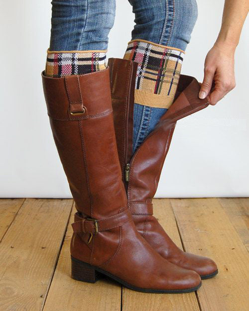 Plaid Boot Cuffs Tan Red Black White Tartan Stretch Boot Toppers One Size