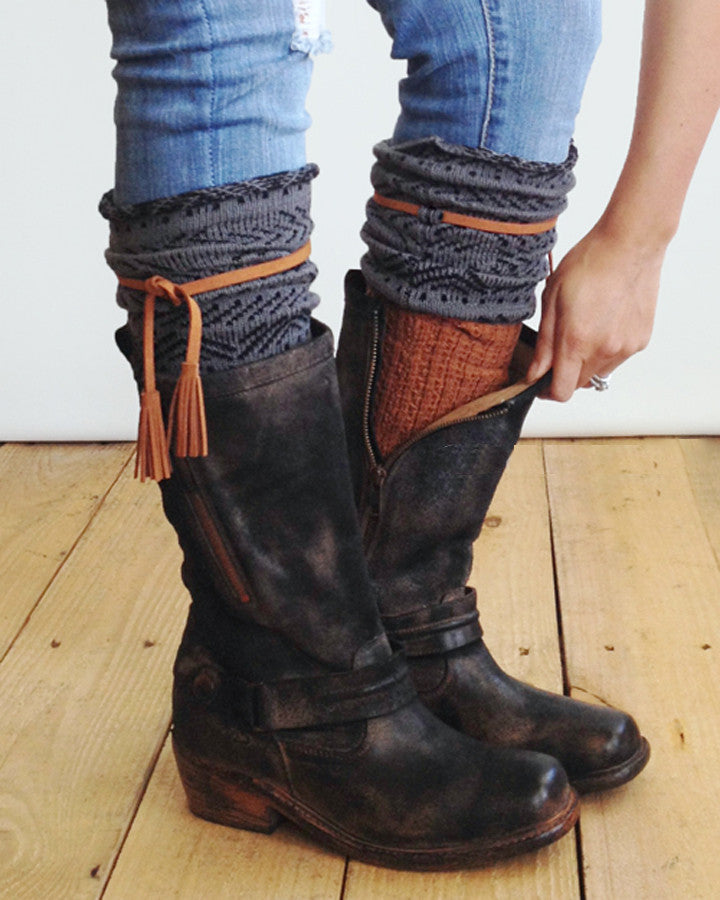 1de54899420 Tahoe Tassel Boho Boot Socks Gray / Whiskey Slouch Top Over The Knee Thick  Waffle Knit Camel Vegan Leather Tassles