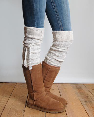 Alpine Boot Socks Tweed Thigh High Tie Top Tassels Thick Boho Oatmeal Diamond Cable Knit Slouch Or Fold Down Cuffs Over The Knee