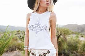 Gypsetter Tank Top White Wandering Gypsy Festival T Shirt By Weekend Society Size Large