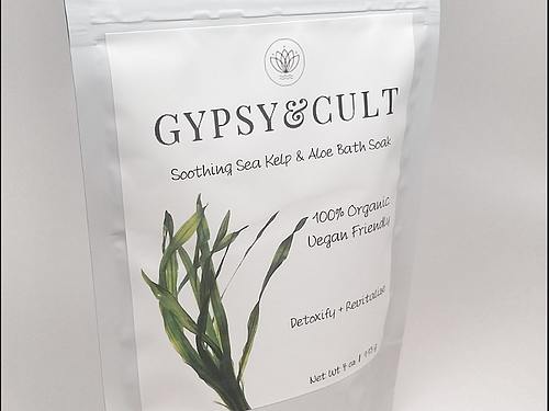 Gypsy & Cult Soothing Sea Kelp And Aloe Bath Soak 4 Oz. 100% Organic Vegan Friendly Detoxify And Revitalize