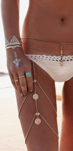 Gypsy Coin Leg Chain Silver Boho Body Jewelry Festival Ornament Bohemian Leg Jewelry